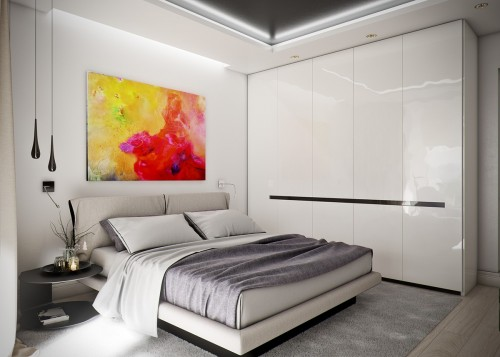 minimalist-bedroom-with-colorful-art