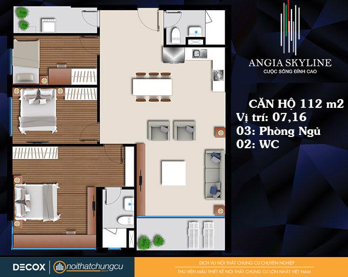 Mặt bằng căn hộ chung cư An Gia Skyline 112m2