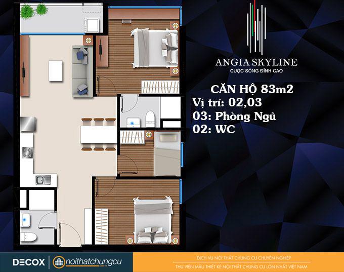 Mặt bằng căn hộ chung cư An Gia Skyline 83m2