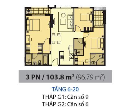 Mặt bằng chung cư Galaxy 9 103m2 : căn hộ 2 phòng ngủ ( 96.79m2)