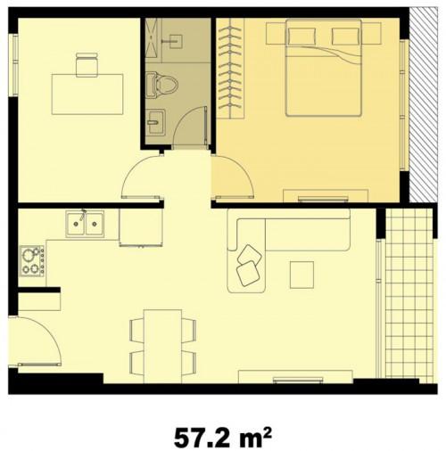 Mặt bằng chung cư Galaxy 9 57m2 : căn hộ 1 phòng ngủ