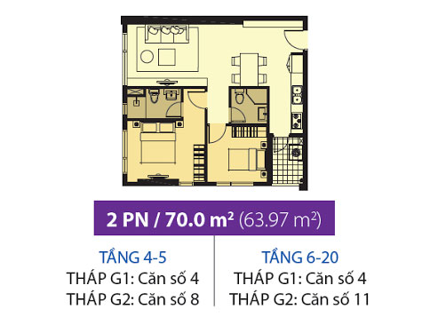 Mặt bằng chung cư Galaxy 9 70m2 : căn hộ 2 phòng ngủ ( 63.97m2)
