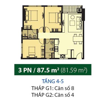 Mặt bằng chung cư Galaxy 9 88m2 : căn hộ 2 phòng ngủ ( 81.59m2)