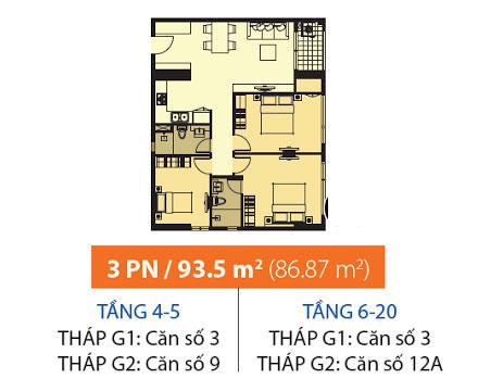 Mặt bằng chung cư Galaxy 9 93m2 : căn hộ 2 phòng ngủ ( 86.87m2)