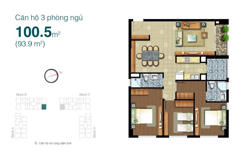 Mặt bằng chung cư Lexington 100m2 : căn hộ 3 phòng ngủ ( 93.9m2)