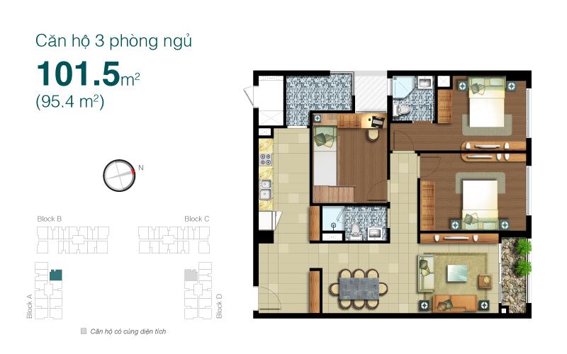 Mặt bằng chung cư Lexington 101m2 : căn hộ 3 phòng ngủ ( 95.4m2)