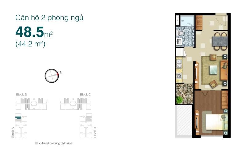 Mặt bằng chung cư Lexington 48m2 : căn hộ 2 phòng ngủ ( 44.2m2)