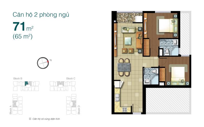 Mặt bằng chung cư Lexington 71m2 : căn hộ 2 phòng ngủ ( 68m2)