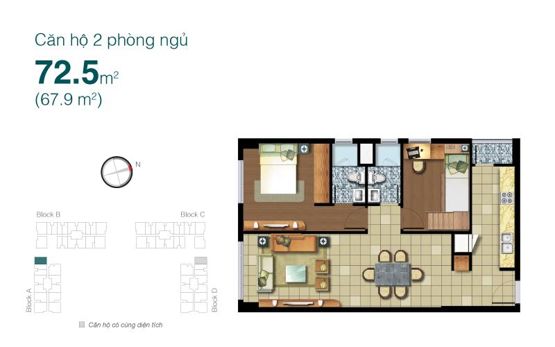 Mặt bằng chung cư Lexington 72m2 : căn hộ 2 phòng ngủ ( 67.9m2)