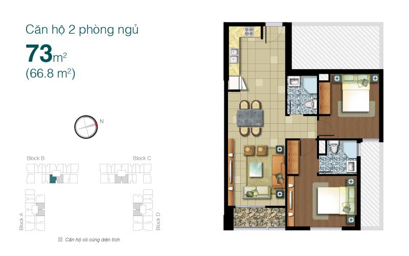 Mặt bằng chung cư Lexington 73m2 : căn hộ 2 phòng ngủ ( 66.8m2)