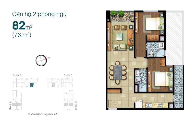 Mặt bằng chung cư Lexington 82m2 : căn hộ 2 phòng ngủ ( 76m2)