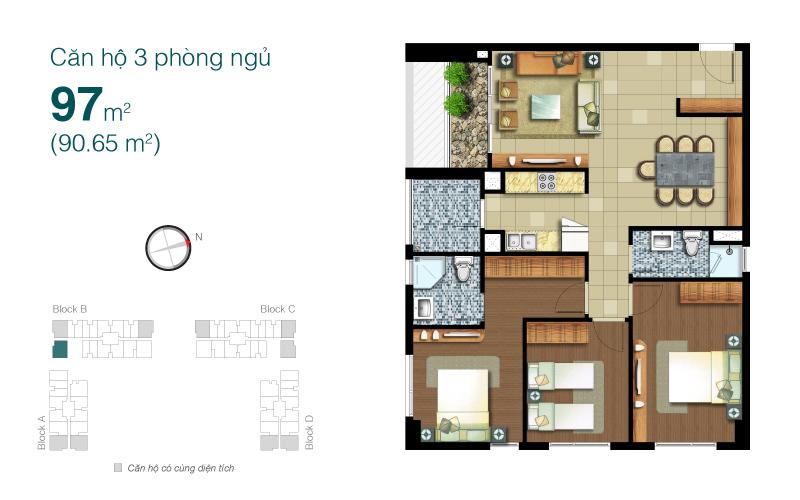 Mặt bằng chung cư Lexington 97m2 : căn hộ 3 phòng ngủ ( 90.65m2)