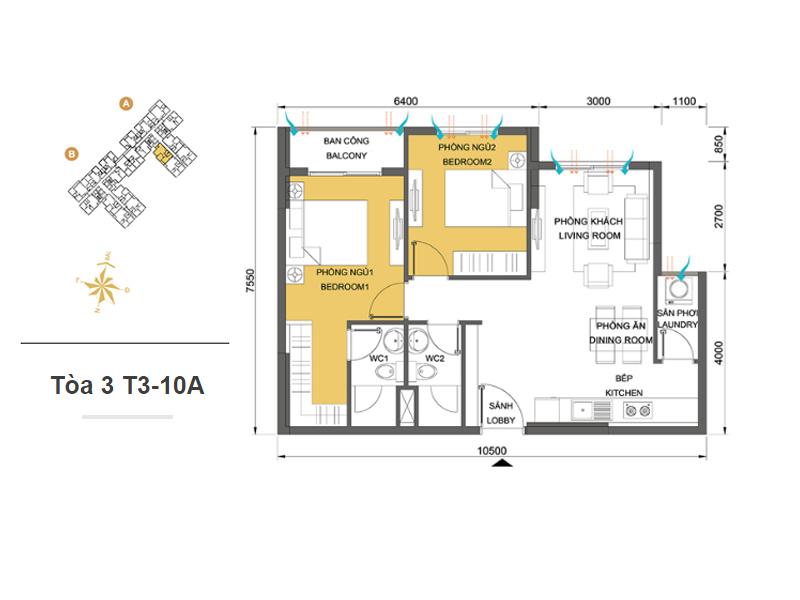 Mặt bằng căn hộ chung cư Masteri Thảo Điền Tòa 3 T3-10A 64m2 : căn hộ 2 phòng ngủ ( 69.05m2)