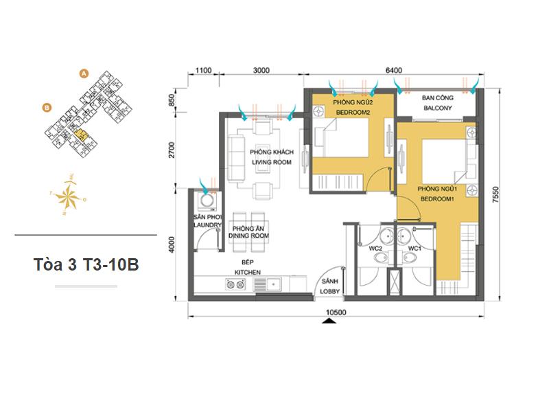Mặt bằng căn hộ chung cư Masteri Thảo Điền Tòa 3 T3-10B 64m2 : căn hộ 2 phòng ngủ ( 69.05m2)