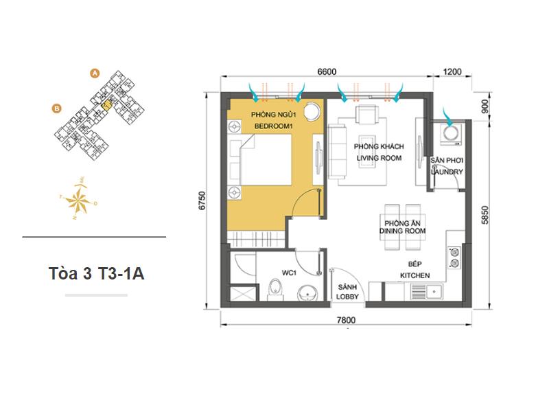 Mặt bằng căn hộ chung cư Masteri Thảo Điền Tòa 3 T3-1A 45m2 : căn hộ 1 phòng ngủ ( 48.81m2)