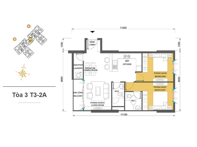 Mặt bằng căn hộ chung cư Masteri Thảo Điền Tòa 3 T3-2A 68m2 : căn hộ 2 phòng ngủ ( 73.05m2)