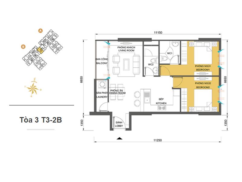 Mặt bằng căn hộ chung cư Masteri Thảo Điền Tòa 3 T3-2B 68m2 : căn hộ 2 phòng ngủ ( 73.05m2)