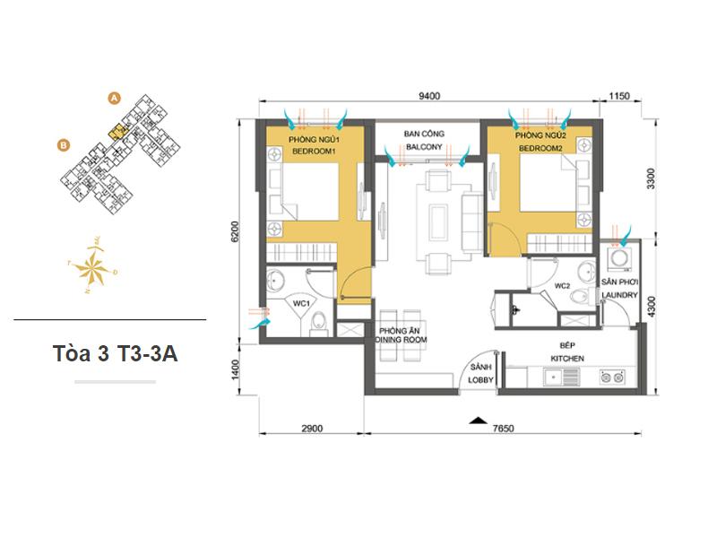 Mặt bằng căn hộ chung cư Masteri Thảo Điền Tòa 3 T3-3A 64m2 : căn hộ 2 phòng ngủ ( 69.87m2)