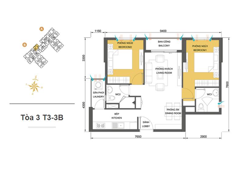 Mặt bằng căn hộ chung cư Masteri Thảo Điền Tòa 3 T3-3B 64m2 : căn hộ 2 phòng ngủ ( 69.87m2)