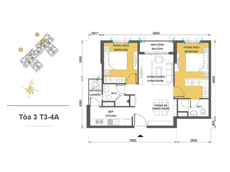 Mặt bằng căn hộ chung cư Masteri Thảo Điền Tòa 3 T3-4A 66m2 : căn hộ 2 phòng ngủ ( 71.35m2)