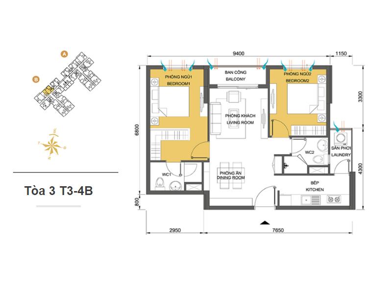 Mặt bằng căn hộ chung cư Masteri Thảo Điền Tòa 3 T3-4B 66m2 : căn hộ 2 phòng ngủ ( 71.35m2)