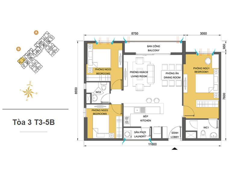 Mặt bằng căn hộ chung cư Masteri Thảo Điền Tòa 3 T3-5B 89m2 : căn hộ 3 phòng ngủ ( 93.95m2)