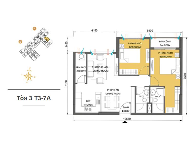 Mặt bằng căn hộ chung cư Masteri Thảo Điền Tòa 3 T3-7A 65m2 : căn hộ 2 phòng ngủ ( 69.90m2)