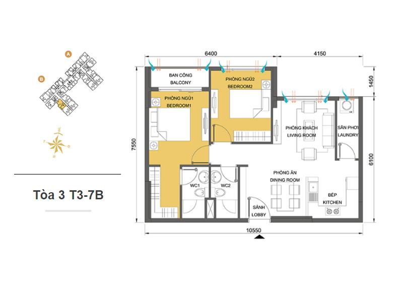 Mặt bằng căn hộ chung cư Masteri Thảo Điền Tòa 3 T3-7B 65m2 : căn hộ 2 phòng ngủ ( 69.90m2)