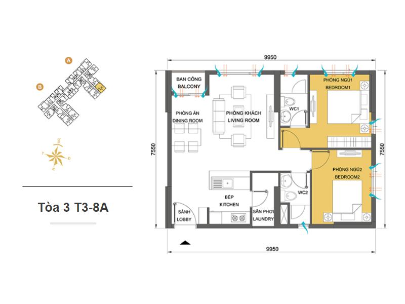 Mặt bằng căn hộ chung cư Masteri Thảo Điền Tòa 3 T3-8A 66m2 : căn hộ 2 phòng ngủ ( 71.82m2)