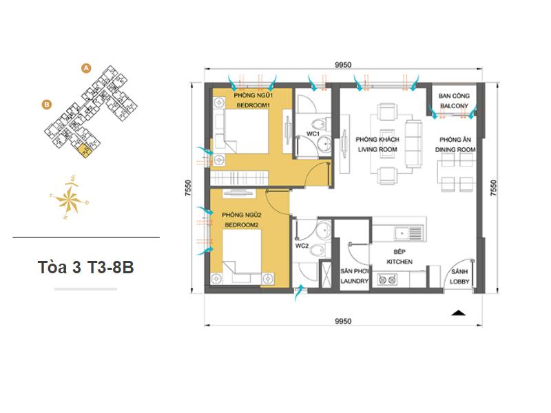 Mặt bằng căn hộ chung cư Masteri Thảo Điền Tòa 3 T3-8B 66m2 : căn hộ 2 phòng ngủ ( 71.82m2)