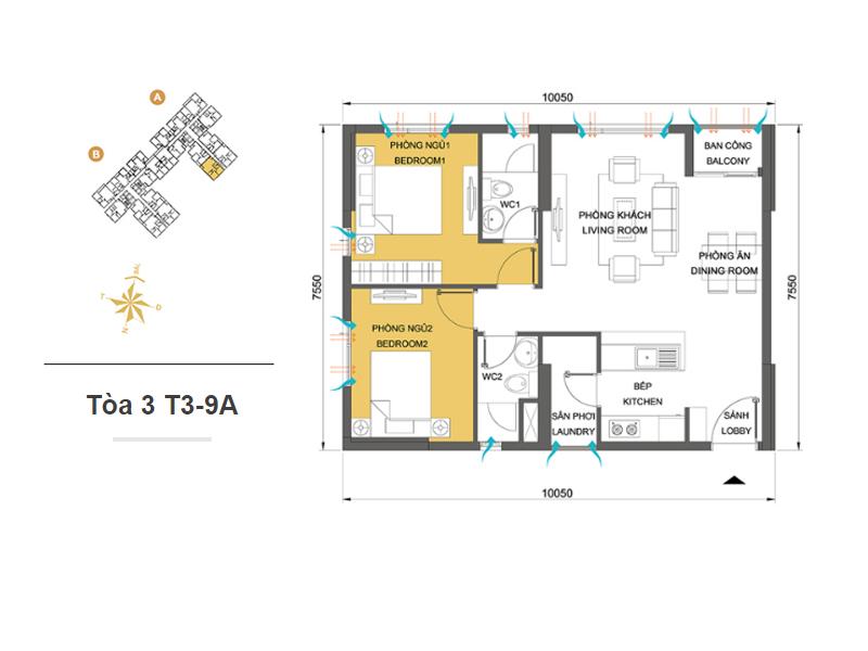 Mặt bằng căn hộ chung cư Masteri Thảo Điền Tòa 3 T3-9A 66m2 : căn hộ 2 phòng ngủ ( 71.82m2)