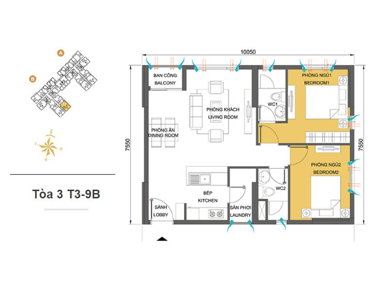 Mặt bằng căn hộ chung cư Masteri Thảo Điền Tòa 3 T3-9B 66m2 : căn hộ 2 phòng ngủ ( 71.82m2)