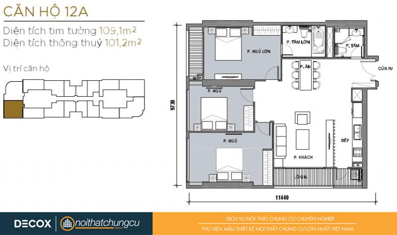 Mặt bằng chung cư Vinhomes Golden River 101m2 : căn hộ 12A - 3 phòng ngủ - 109.1m2
