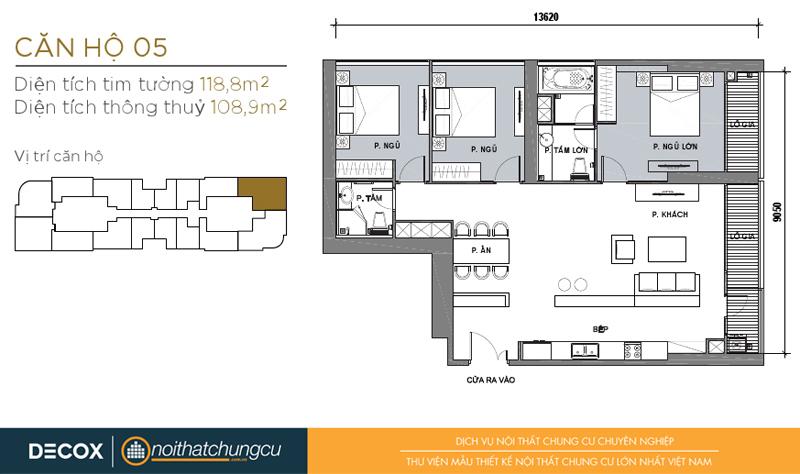 Mặt bằng chung cư Vinhomes Golden River 108m2 : căn hộ 05 - 3 phòng ngủ - 118.8m2