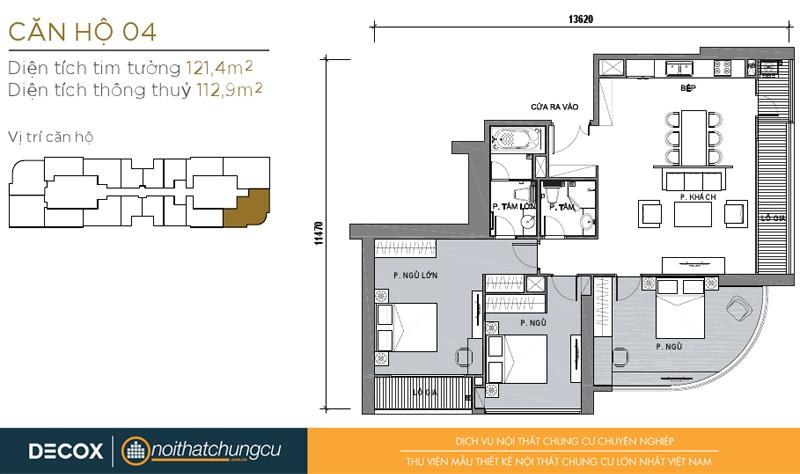 Mặt bằng chung cư Vinhomes Golden River 112m2 : căn 3 phòng ngủ - 121.4m2