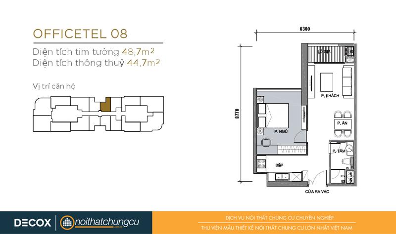 Mặt bằng chung cư Vinhomes Golden River 44m2 : căn 1 phòng ngủ - 48,7m2