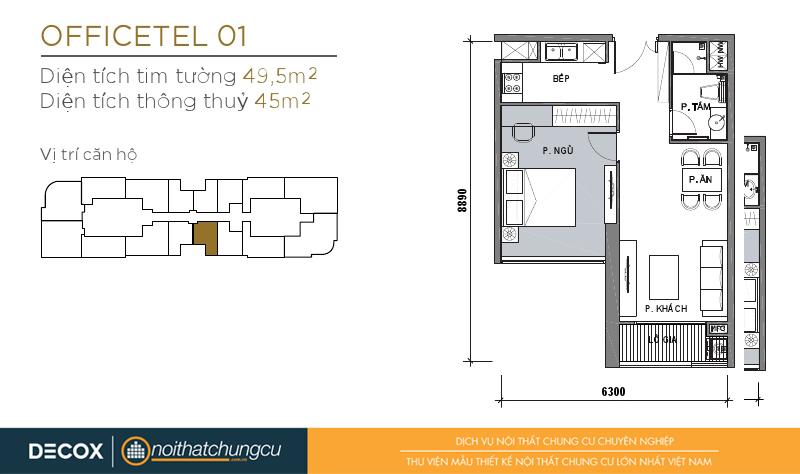 Mặt bằng chung cư Vinhomes Golden River 45m2 : căn hộ 01 - 1 phòng ngủ - 49.5m2