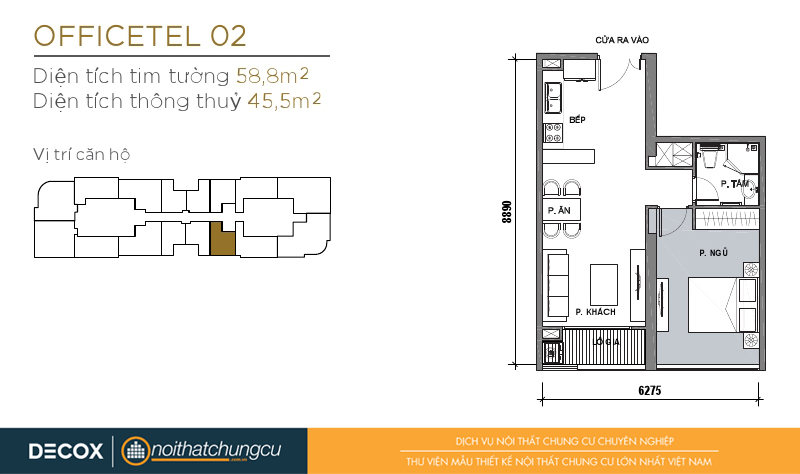 Mặt bằng chung cư Vinhomes Golden River 45m2 : căn hộ 02 - 1 phòng ngủ - 58.8m2