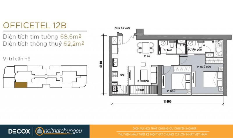 Mặt bằng chung cư Vinhomes Golden River 62m2: căn hộ 12B - 2 phòng ngủ - 68.6m2