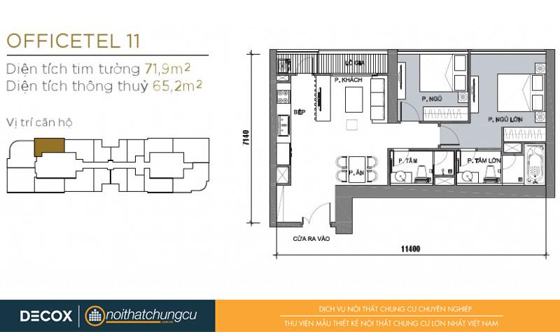 Mặt bằng chung cư Vinhomes Golden River 65m2 : căn hộ 11 - 2 phòng ngủ - 71.9m2