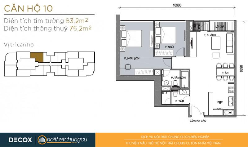 Mặt bằng chung cư Vinhomes Golden River 76m2 : căn hộ 10 - 2 phòng ngủ - 83.2m2