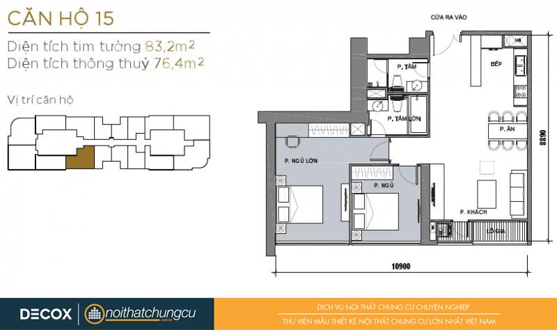 Mặt bằng chung cư Vinhomes Golden River 76m2 : căn hộ - 2 phòng ngủ - 83.2m2