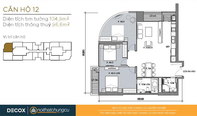 Mặt bằng chung cư Vinhomes Golden River 96m2 : căn hộ - 3 phòng ngủ - 104.9m2