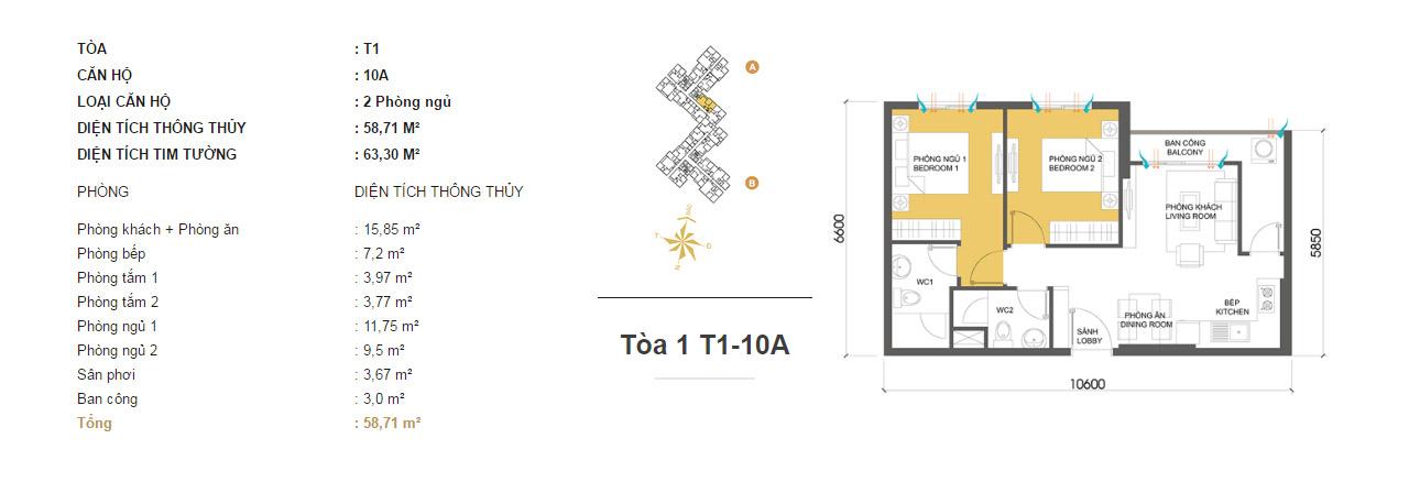 Mặt bằng chung cư Masteri Thảo Điền T1-10A 58m2 : căn hộ 2 phòng ngủ ( 63.30m2)
