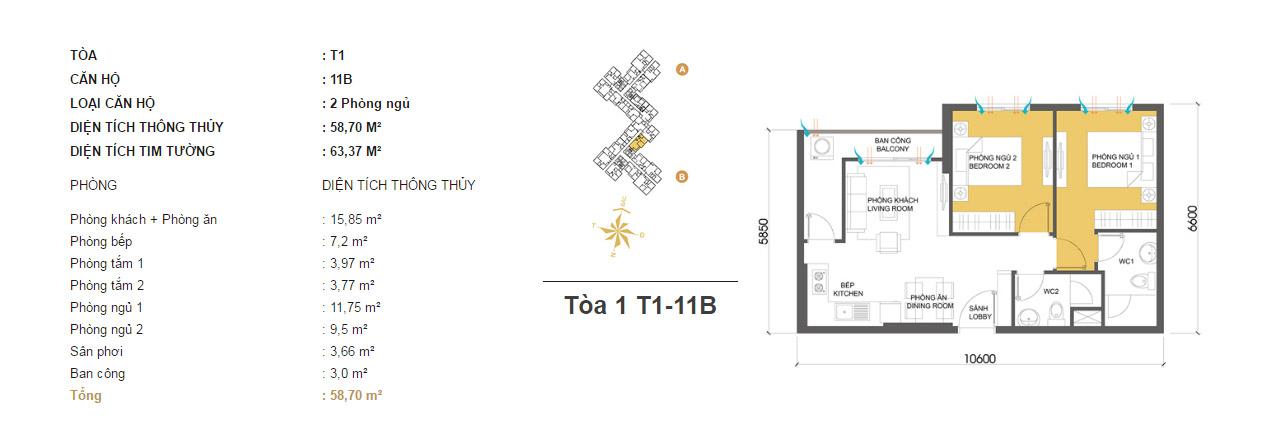 Mặt bằng chung cư Masteri Thảo Điền T1-11B 58m2 : căn hộ 2 phòng ngủ ( 63.37m2)