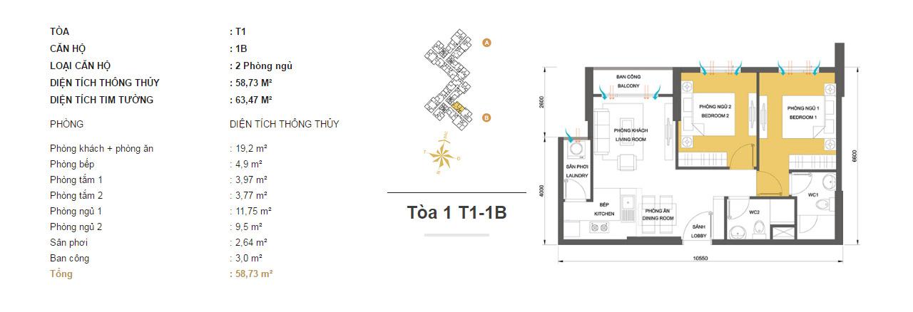 Mặt bằng chung cư Masteri Thảo Điền T1-1B 58m2 : căn hộ 2 phòng ngủ ( 63.47m2)