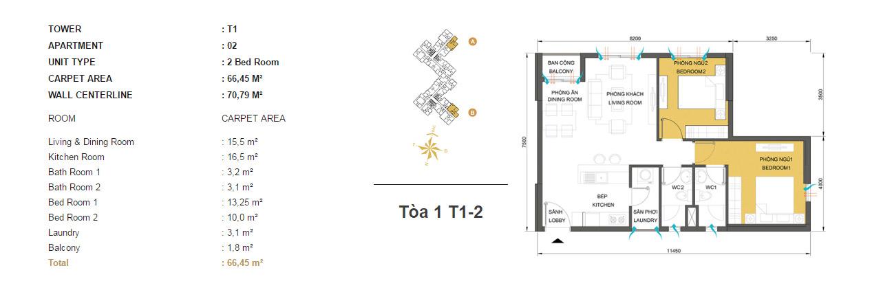 Mặt bằng chung cư Masteri Thảo Điền T1-2 66m2 : căn hộ 2 phòng ngủ ( 70.79m2)