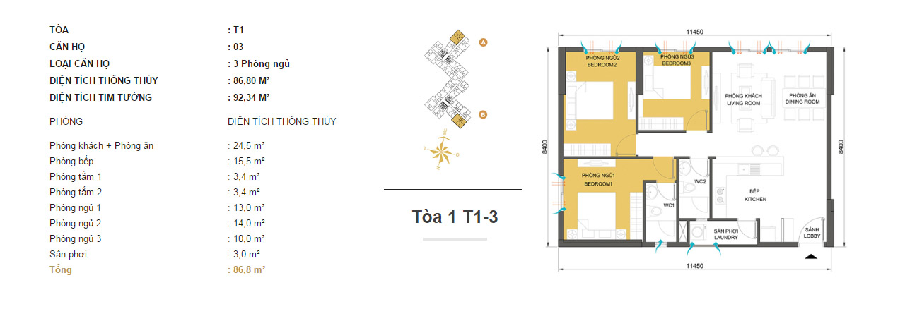 Mặt bằng chung cư Masteri Thảo Điền T1-3 86m2 : căn hộ 3 phòng ngủ ( 92.34m2)