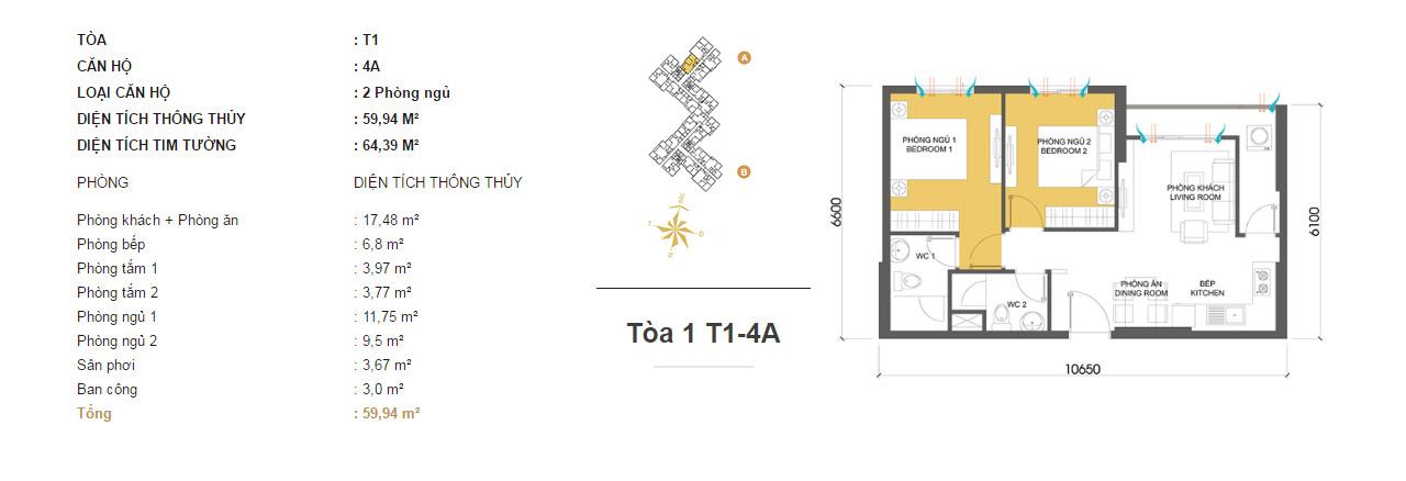 Mặt bằng chung cư Masteri Thảo Điền T1-4A 59m2 : căn hộ 2 phòng ngủ ( 64.39m2)