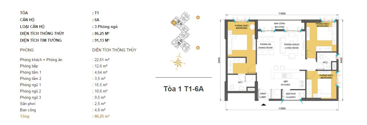 Mặt bằng chung cư Masteri Thảo Điền T1-6A 86m2 : căn hộ 2 phòng ngủ ( 91.13m2)